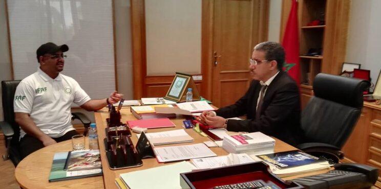لقاء مع مالي الوزير عزيز الرباح رئيس مجلس بدية القنيطرة بالمغرب