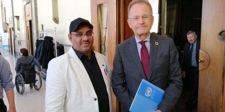 المشاركة في المؤتمر الدولي الرياضي مع مدير مكتب الأمم المتحدة مايكل مولر بمقر الأمم المتحدة – بجنبف
